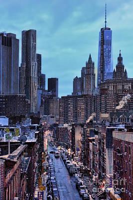 Manhattan At Dawn - Chinatown - World Trade Center Poster by Lee Dos Santos