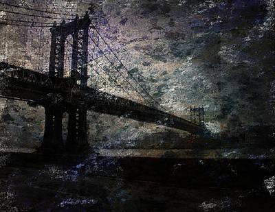 Poster featuring the digital art Manhattan Bridge by Bruce Rolff