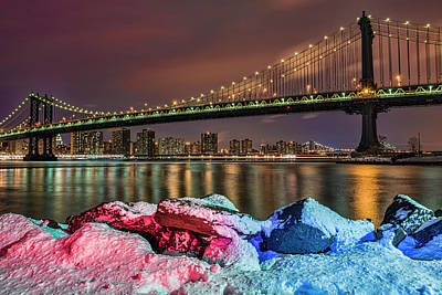 Manhattan Bridge By Snow-covered Rocks Poster