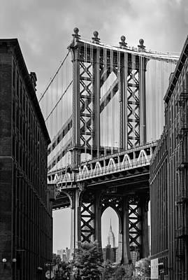 Manhattan Bridge Frames The Empire State Building Poster by Susan Candelario