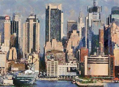 Manhattan Digital Artwork Buildings Usa Poster by Georgi Dimitrov