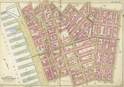 Manhattan, Double Page Plate No. 9 Map Bounded By Charles Poster