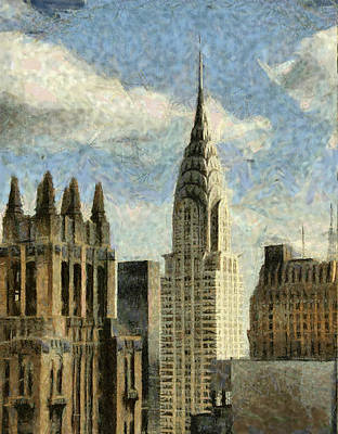 Manhattan City In A Clouldly Day Poster by Georgi Dimitrov
