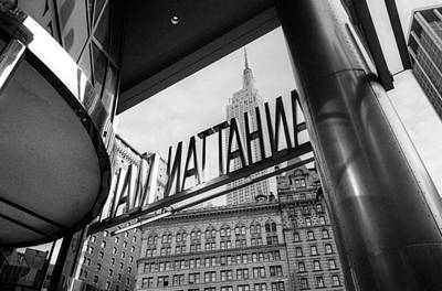 Poster featuring the photograph Manhattan Mall Sign by Dave Beckerman