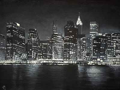 Poster featuring the painting Manhattan Skyline At Night by Jennifer Hotai