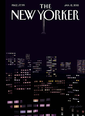 Manhattan Skyline At Night Poster by Jorge Colombo