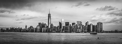 Manhattan Skyline Black And White Poster by David Morefield