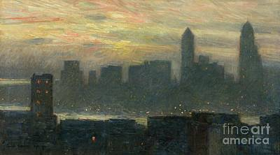 Manhattans Misty Sunset Poster by Childe Hassam