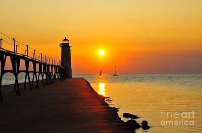Manistee Lighthouse Sunset Poster