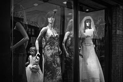 Mannequin Bridal Party In A Window Display Poster by Randall Nyhof