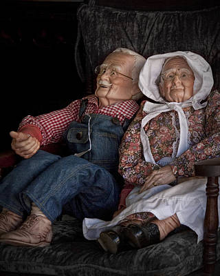 Mannequin Old Couple In Shop Window Display Color Photo Poster by Randall Nyhof