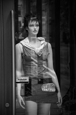Mannequin Sale Display In A Storefront Window Poster by Randall Nyhof