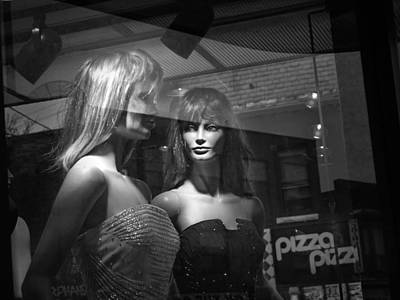 Mannequins In Storefront Window Display With Pizza Sign Poster
