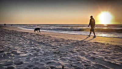 Man's Best Friend On Beach Poster