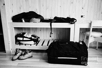 Mans Luggage Piled Up In A Hotel Room Poster by Joe Fox