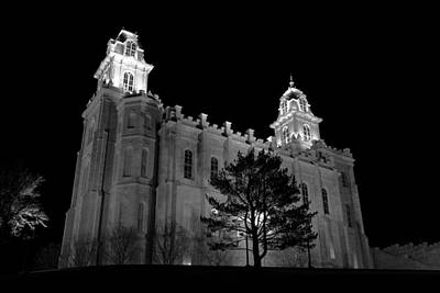 Manti Temple Black And White Poster by David Andersen