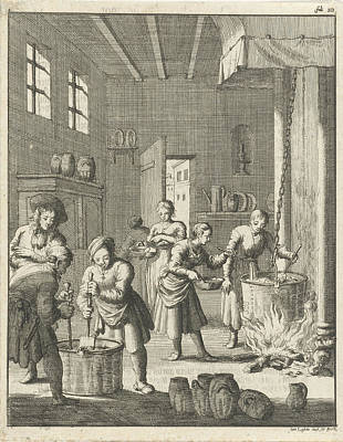 Manufacture Of Sorbet In A Kitchen At Rosette Poster by Jan Luyken