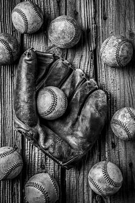 Many Baseballs In Black And White Poster by Garry Gay