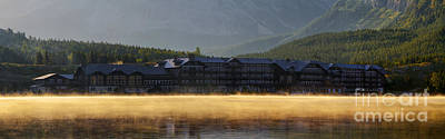 Many Glacier Hotel Sunrise Panorama Poster by Mark Kiver