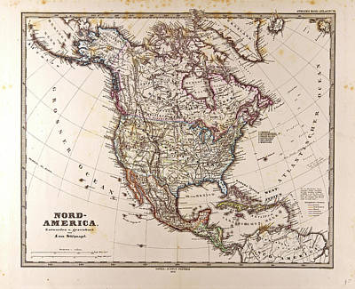 Map North America Gotha Justus Perthes 1872 Atlas Poster by English School