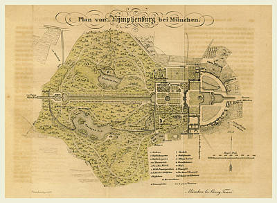 Map Nymphenburg Near Munchen Germany Poster by Litz Collection