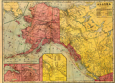Map Of Alaska And Eastern Canada 1901 Poster by Mountain Dreams