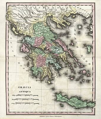 Map Of Ancient Greece Poster by Library Of Congress, Geography And Map Division