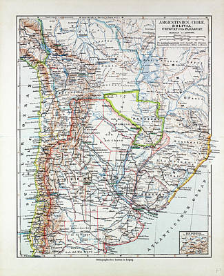 Map Of Argentinia Chile Bolivia Uruguay And Paraguay 1899 Poster by Chilean School