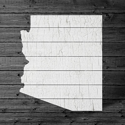 Map Of Arizona State Outline White Distressed Paint On Reclaimed Wood Planks Poster
