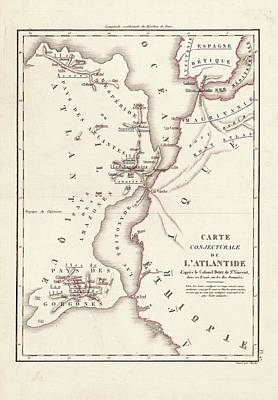 Map Of Atlantis Poster by Library Of Congress, Geography And Map Division