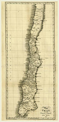 Map Of Chile 1825 Poster by Litz Collection
