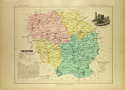 Map Of Creuse France Poster by French School