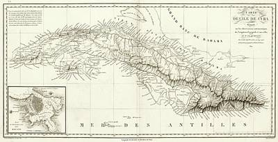Map Of Cuba Poster by Library Of Congress, Geography And Map Division