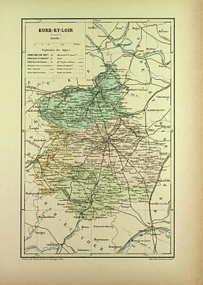 Map Of Eure-et-loire France Poster