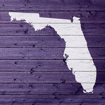 Map Of Florida State Outline White Distressed Paint On Reclaimed Wood Planks Poster