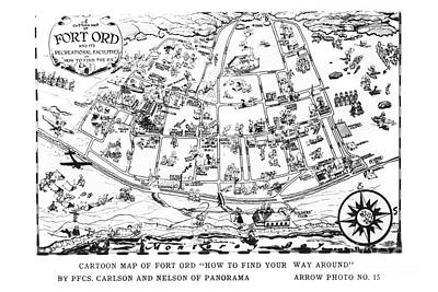 Map Of Fort Ord Army Base Monterey California Circa 1950 Poster