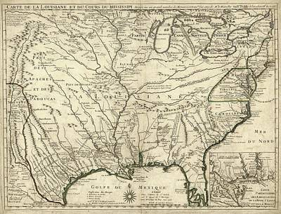 Map Of French Louisiana Poster