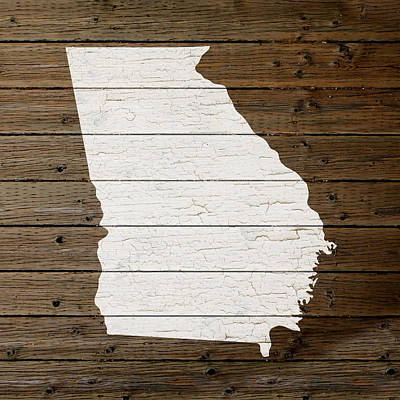 Map Of Georgia State Outline White Distressed Paint On Reclaimed Wood Planks Poster