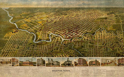 Map Of Houston Texas Circa 1891 On Worn Distressed Canvas Poster