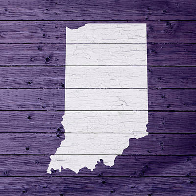 Map Of Indiana State Outline White Distressed Paint On Reclaimed Wood Planks Poster