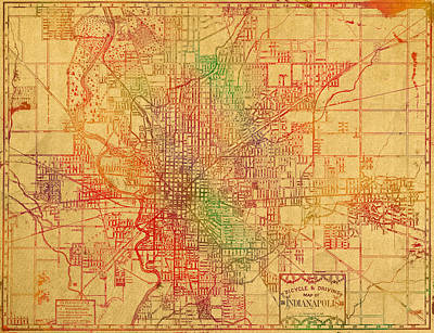 Map Of Indianapolis Vintage Bicycle And Driving Watercolor Street Diagram Painting On Parchment Poster
