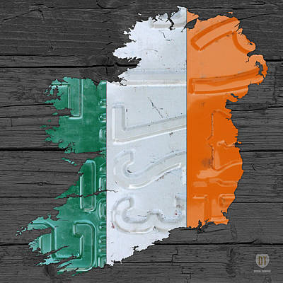 Map Of Ireland Plus Irish Flag License Plate Art On Gray Wood Board Poster