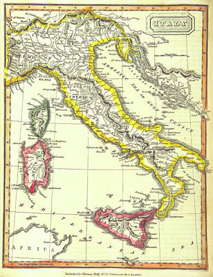 Map Of Italy By Thomas Kelly Poster