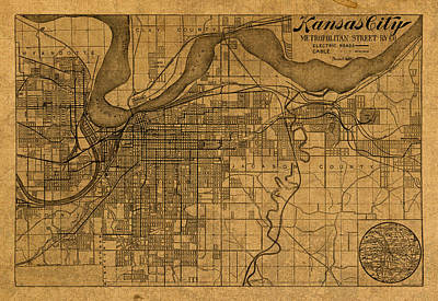 Map Of Kansas City Missouri Vintage Old Street Cartography On Worn Distressed Canvas Poster