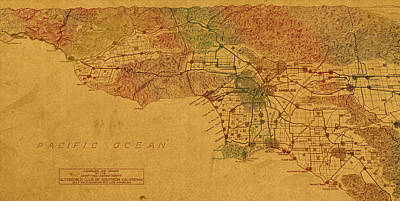 Map Of Los Angeles Hand Drawn And Colored Schematic Illustration From 1916 On Worn Parchment Poster