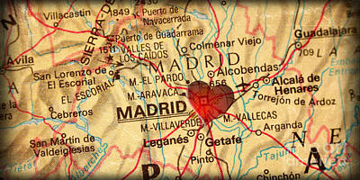 Map Of Madrid Spain Espana Europe In A Antique Distressed Vintag Poster