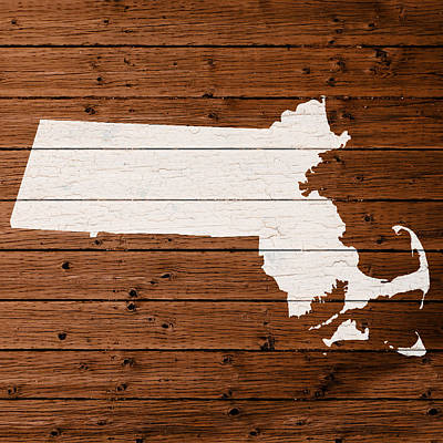 Map Of Massachusetts State Outline White Distressed Paint On Reclaimed Wood Planks Poster by Design Turnpike