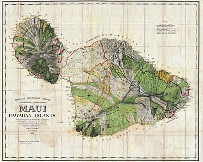 Map Of Maui 1885 Poster by Jon Neidert