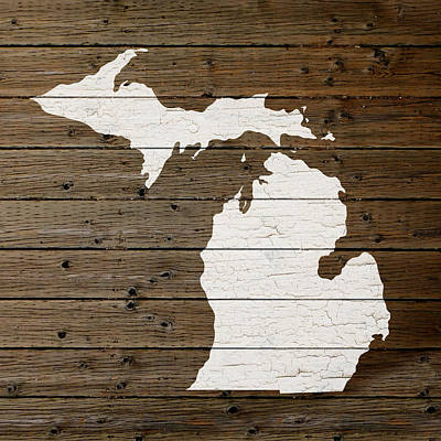Map Of Michigan State Outline White Distressed Paint On Reclaimed Wood Planks Poster