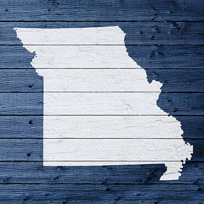 Map Of Missouri State Outline White Distressed Paint On Reclaimed Wood Planks Poster